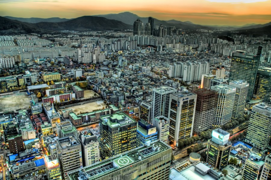 Compact and dense city of Seoul, South Korea
